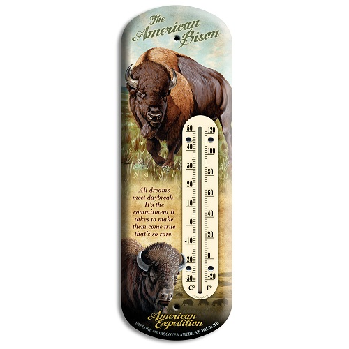 American Expedition Bison Tin Back Porch Thermometer BTHM-107
