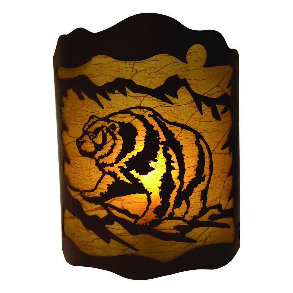 River s Edge 10x13 Rustic Metal Bear Wall Sconce Light with Bulb 1582