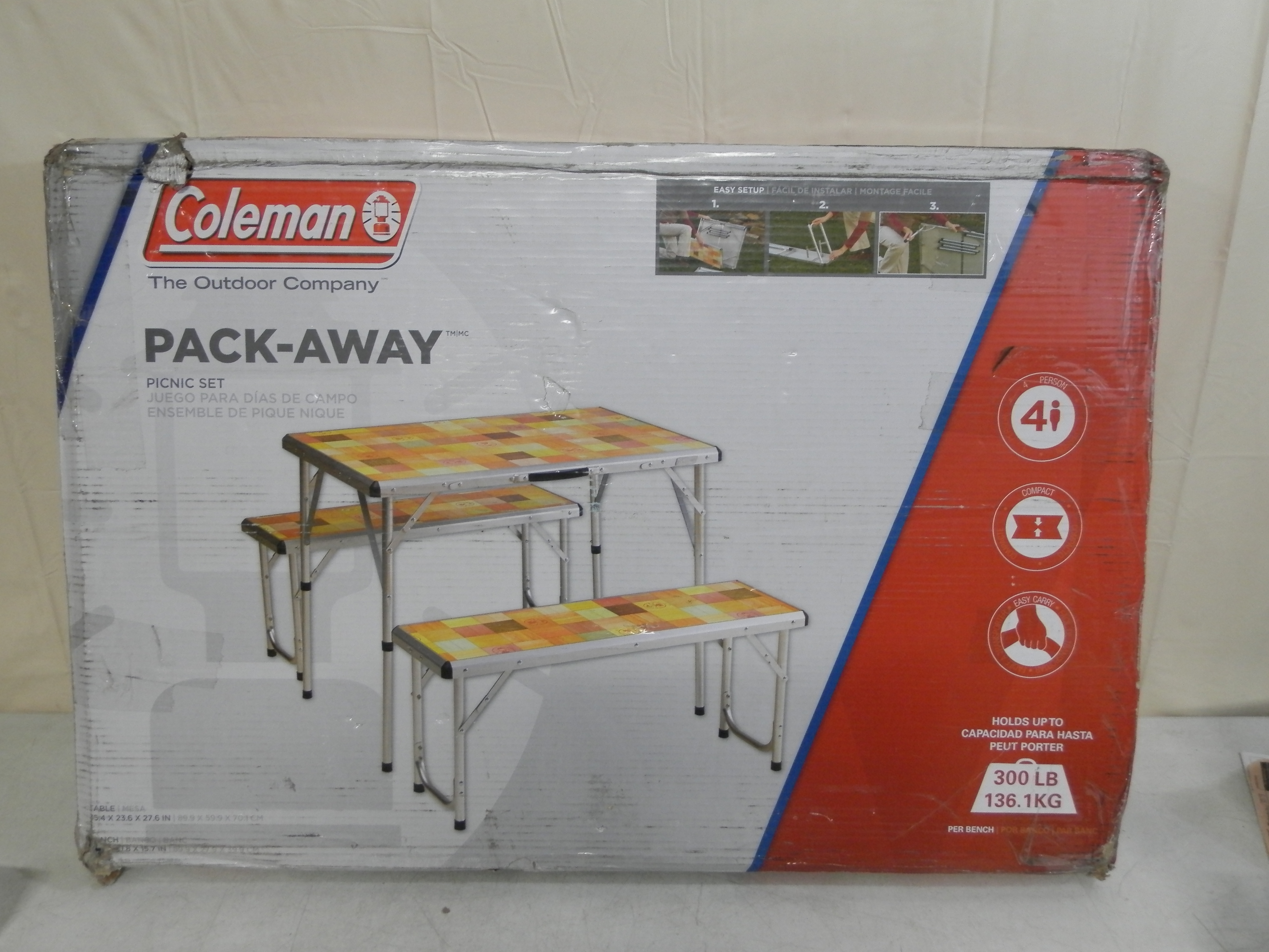 Coleman Pack-Away Outdoor Picnic Set For 4 Mosaic 2000016596 ...