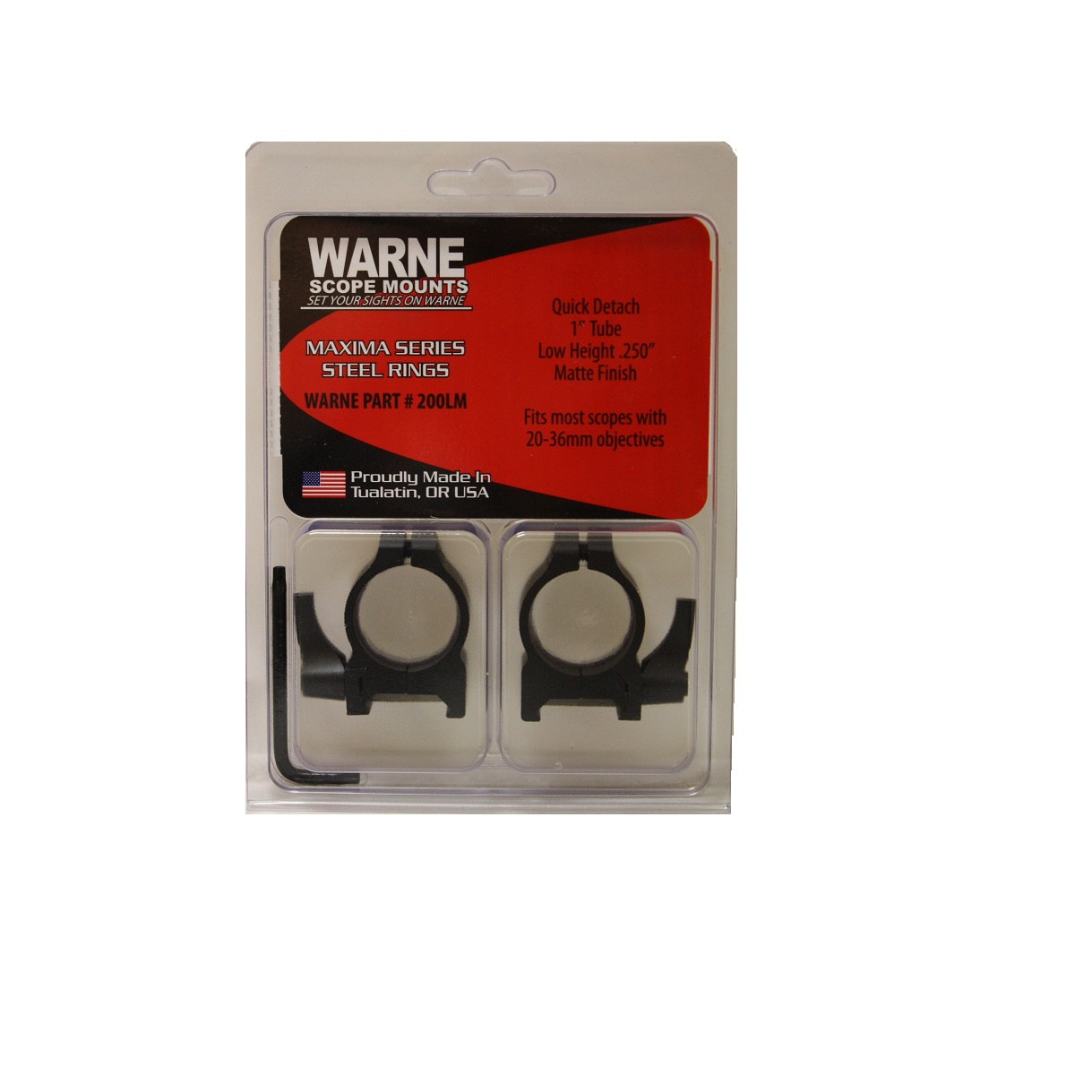 Warne-1-Inch-Quick-Detach-Rings-Low-Matte-200LM thumbnail 2